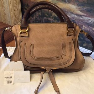 Chloé Marcie Greige Suede/Leather Satchel